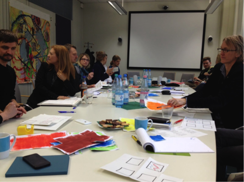 Participants of the workshop during the preparation of the second collaborative artwork.