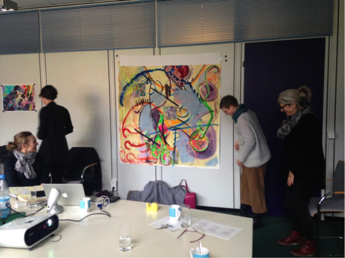 "Unveiling the collaborative artwork ""Workshop 1"" by Lynne Cameron and the Cinepoetics group."